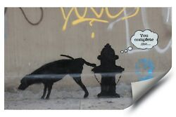 Banksy Street Graffiti Art Dog Fire Hydrant You Complete Me Vinyl Poster Decal