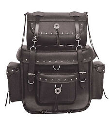 Motorcycle Large Four Piece PVC Touring Pack W Barrel Bag Studded Quick Release