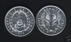Djibouti 2 Francs Km-21 1996 Antelope Unc Animal Money French Colony Coin
