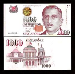 Singapore 1000 1,000 Dollars P-51 Star Or House Unc Currency New Bill Money Note