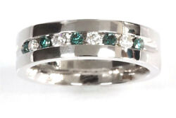 0.5 Ctw Natural Blue And White Diamond Solid 14k White Gold Unisex Wedding Ring