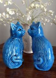 Cute Matched Pair of Vintage Ceramic Pottery Asian Turquoise Blue CAT FIGURINES
