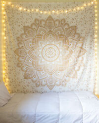 Indian Mandala Tapestry Hippie Wall Hanging Gold amp; White Twin Bedspread Decor