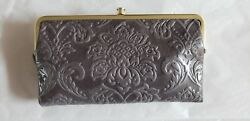 NWT Hobo International Lauren WalletClutch Double Frame   Embossed Granite
