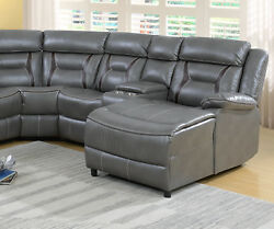 Home Theater Sectional Leatherette Loveseat Console Wedge Push Back Chaise Grey