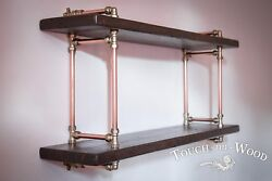 Copper Pipe And Brass Steampunk Wall Shelf Industrial Reclaimed Wood Display