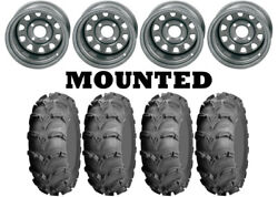 Kit 4 Itp Mud Lite Xl Tires 26x9-12/26x12-12 On Itp Delta Steel Silver Wct