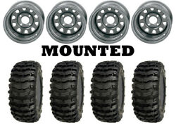 Kit 4 Sedona Buzz Saw Tires 26x9-12/26x10-12 On Itp Delta Steel Silver Can