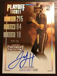 2016 Panini Contenders Jared Goff Playoff Ticket Sepia Auto Autograph 20/25 Rc
