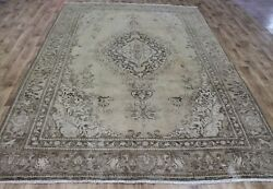 Antique Persian Tabriz Overdyed Carpet 10'6 X 7 Ft Hand Knotted Wool Carpet