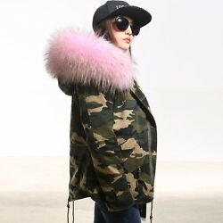 Womenand039s Outwear Big Fur Collar Hooded Parka Camo Warm Thick Jacket Coat Winter