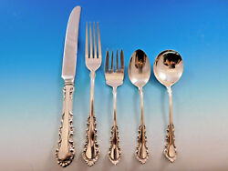 Georgian Rose By Reed And Barton Sterling Silver Flatware Set Service 71 Pc Dinner