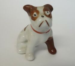 VINTAGE BULLDOG WEARING A CAST PORCELAIN CERAMIC DOG FIGURINE JAPAN ANIMAL