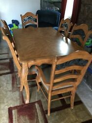 Antique Pine 7 Piece Dining Room Set, With Display Cabinet, And Buffet Table