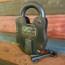 Alcatraz San Francisco XL 3quot; x 5quot; Cast Iron Lock amp; Keys Antique Finish