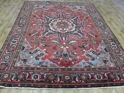 Antique Persian Heriz Carpet With Traditional Design Great Condition 11 X 7and0394 Ft