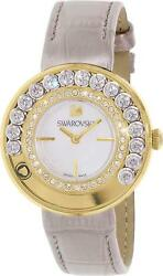 Swarovski Watch 35mm Lovely Crystals Gold Tone with Leather Strap Swiss Made New