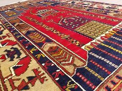 Stunning 1940-1950s Semi-antique Wool Pile Natural Color Prayer Rug 4and0399andtimes8and0396