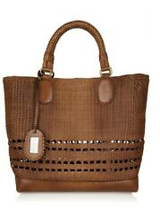 Hand-painted Woven Leather Tote
