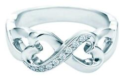 And Co Paloma Picasso 18k White Gold And Diamond Double Loving Hearts Ring