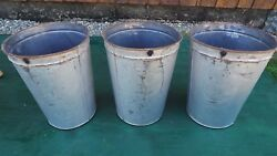 Vintage 3 Maple Syrup Tin Sap Old Silver Paint Finish Look Buckets 13 High