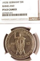 Germany Weimar Republic 1925 E 5 Mark 1000 Years Thaler Ngc Pf 63 Cameo