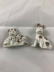 Vintage Lot X 2 miniature Boston Terrier French Bulldog  figurines Germany