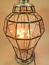 Rare Vintage Clear Panel Glass Flicker Flamed Table Lamp 28 W/ 12 Diameter