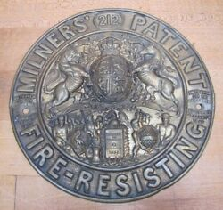 Antique Embossed Brass Milners Patent Fire-resisting Safe Plaque Sign Ornate