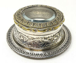 Vintage Unique Crafts-silver Plated Small Jewellery Container -rare Collectibles