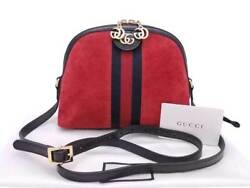 Auth Gucci Ophidia Crossbody Shoulder Bag RedBlack SuedePatent Leather e37202