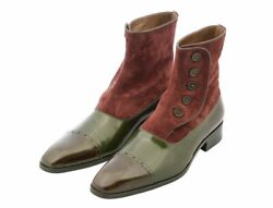 Menand039s Handmade Oilve Green Leather Buttoned Ankle High Boots