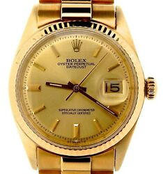 Rolex Mens Solid 18K Yellow Gold Datejust wGold Plated President Style Bracelet