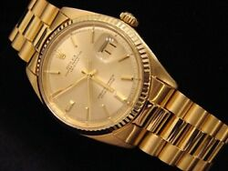 Mens Rolex Solid 18k Yellow Gold Datejust WGold Plated President Style Bracelet