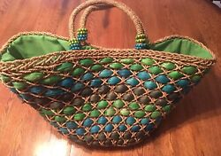 Sun N Sand Extra Large Green & Blue Woven Straw Tote Beach Bag NWT!!!