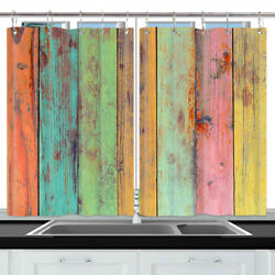 Color Wooden Board Window Treatments For Kitchen Curtains 2 Panels 55x39 Inches