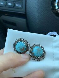 Antique Silver And Turquoise Earrings Made In France