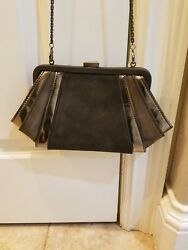 New Zac Posen Gray Suede and Silver Evening Bag  Clutch with Chain