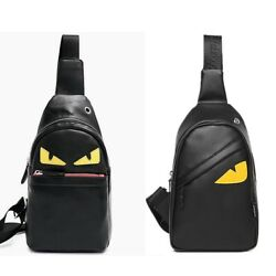 Men#x27;s Leather Chest Sling Day Pack Shoulder Bag Sport Travel Backpack Toothless $16.99