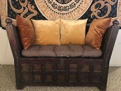 Hand Carved Hard Wood Indian Bench/trunk