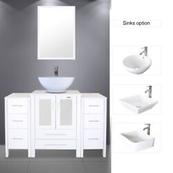 48 White Bathroom Vanity 2 Small Side Cabinet And Ceramic Vessel Sink Top Modern