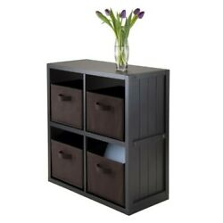 Winsome Timothy 5pc 2x2 Wainscoting Shelf With 4 Baskets In Black