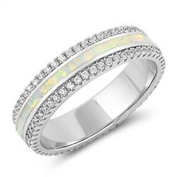 White Lab Opal Wedding Ring .925 Sterling Silver Sparkle Bling Band Sizes 5-10
