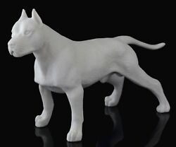Staffordshire Pit Bull Terrier White Marble Figurine Stone Dog Art Sculpture 7