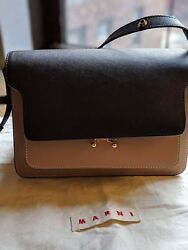 Marni Trunk TriColor Saffiano Leather CrossbodyShoulder Bag BlackBeigeGreen