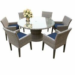 Monterey 60 Inch Outdoor Patio Dining Table With 6 Chairs With Arms In Navy