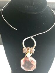 Antique 18k Gold Natural Pearl Pink Crystal Bee Pendant With Necklace