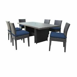 Barbados Rectangular Outdoor Patio Dining Table With 6 Armless Chairs In Navy