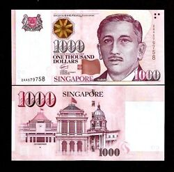 Singapore 1000 1000 Dollar P-51 1999-2018 Aa 1st Prefix Unc Money New Bank Note