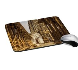 Antique Temple Printed Brown Easy Typing Rectangular Computer And Laptop Mouse Pad